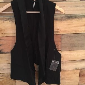 NWT Free People Black Vest Sz M